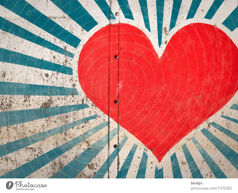 Blue White Red Wall (building) Life Love Graffiti Emotions Wall (barrier) Happy Friendship Illuminate Esthetic Happiness Creativity Heart