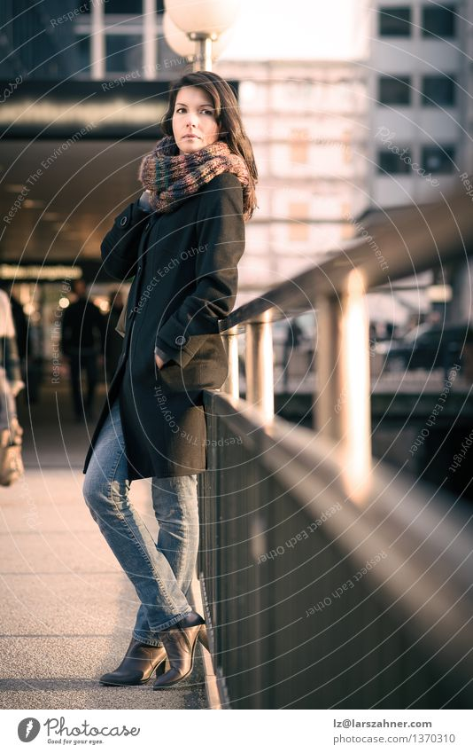 Stylish Pretty Woman Leaning on Pathway Rails Human being Vacation & Travel City Beautiful Sun Adults Autumn Lifestyle Fashion Stand Wait Thin Model Jeans