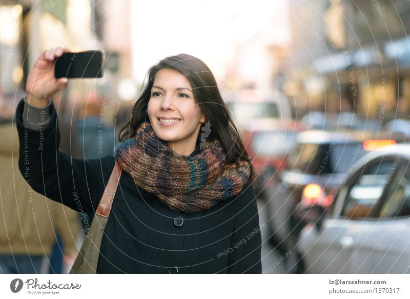 Stylish Woman Taking Selfie at the City Street Human being Woman Vacation & Travel City Joy Winter Face Adults Street Style Happy Lifestyle Fashion Tourism Action Technology