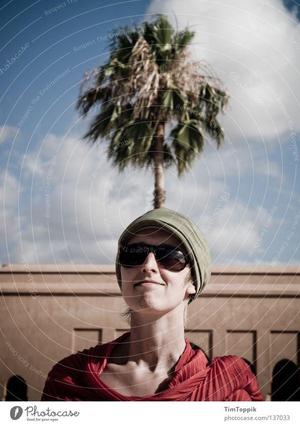 My Palm Lady Woman Eyeglasses Sunglasses Neckerchief Baseball cap Cap Headwear Self-confident Challenging Joy Happiness Funny Clouds Palm tree Tree Palm frond