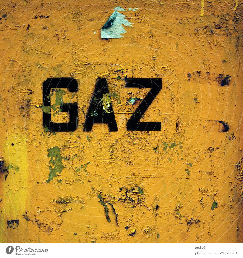 Gaza Characters Old Sharp-edged Trashy Yellow Green Orange Bizarre Transience Destruction Unclear Puzzle Gas Inscription Capital letter Poland Eastern Europe