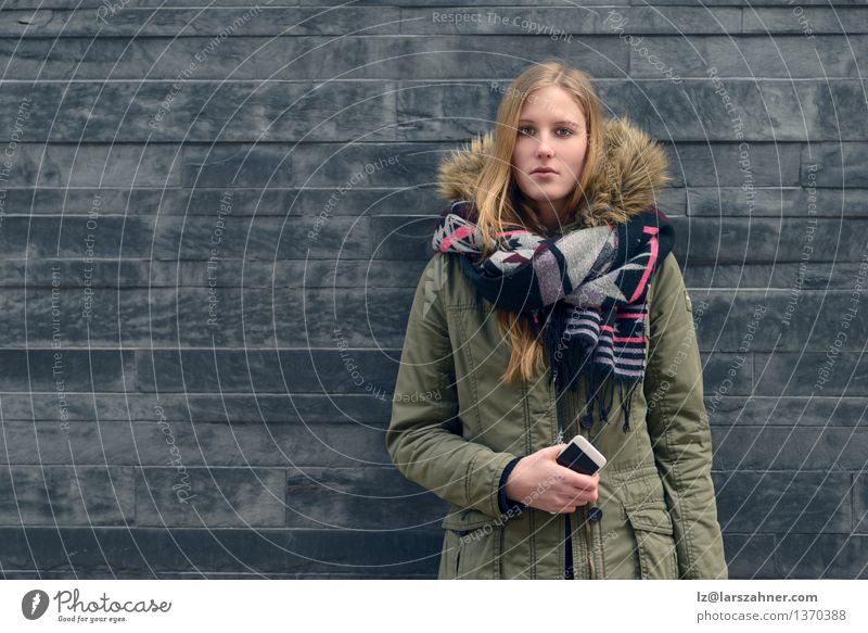 Woman in Winter Outfit in Front Old Gray Wall Style Body Education University & College student PDA Girl Adults 1 Human being 13 - 18 years Youth (Young adults)