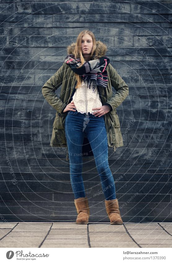 Woman in Winter Outfit in Front Old Gray Wall Style Body Girl Adults 1 Human being 13 - 18 years Youth (Young adults) Autumn Fashion Jeans Jacket Scarf Boots
