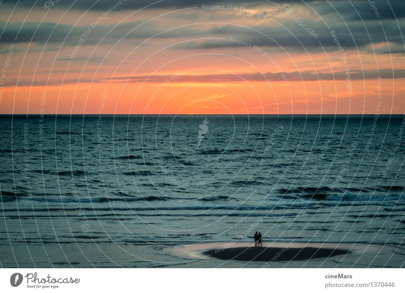 surrounded Vacation & Travel Summer vacation Beach Ocean Waves Human being 2 Sunrise Sunset Beautiful weather North Sea Observe Catch Stand Wait Threat Dark