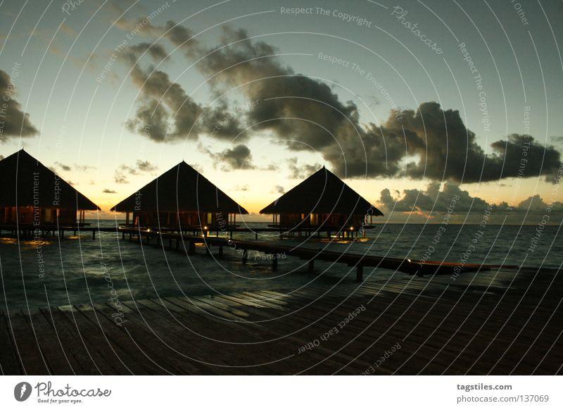 GOOD EVENING RANNALHI Good Maldives Sunset Evening Vacation & Travel Asia Summer Vacation home Footbridge Honeymoon India Ocean Relaxation Rannalhi Dusk