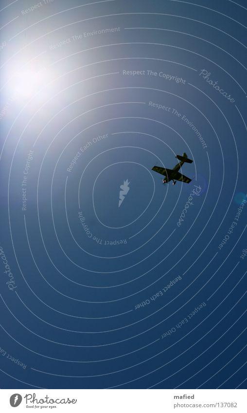 Sky Blue White Sun Freedom Flying Airplane Speed Wing Engines Acrobatics Thrill Kick Titillation Air show Aerobatics