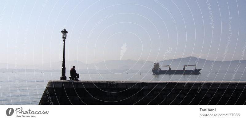 Tanker II Watercraft Long Navigation Trade Spain Cargo-ship Colossus Man Lantern Jetty Mole Wanderlust Grief Bad weather Ocean Oil Oil tanker Empty Sky