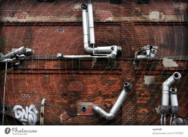 Old Loneliness Wall (building) Above Architecture Metal Work and employment Arm Glittering Facade Open Broken Industry Technology Factory Brick