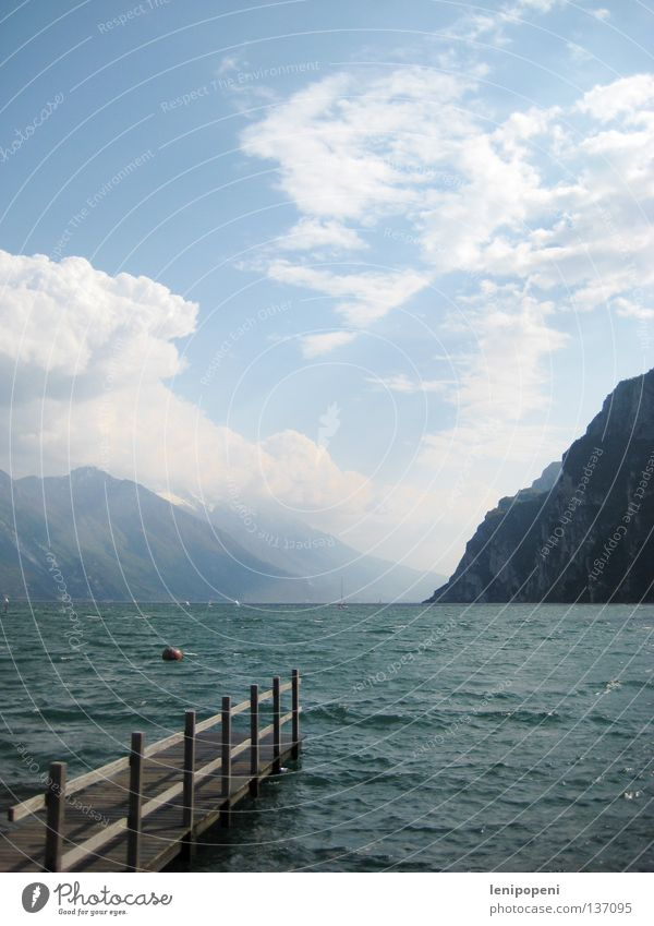 sea addiction Lake Ocean Lake Garda Italy Vacation & Travel Waves Gale Passion Clouds Summer Beautiful Footbridge Steep Far-off places Buoy Deep Sailing Wind