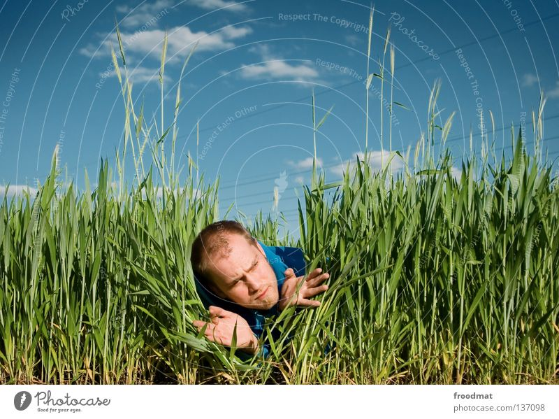 photo safari Field Hunter Find Looking Hongkong Clouds Hand Meadow Unshaven Facial hair Funny Humor Search Photographer Take a photo Forest-dweller Skeptical