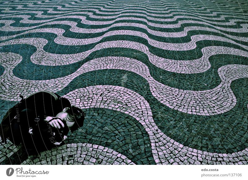 Onde Lisbon Portugal Dance floor Detail Europe Woman Lisbona place waves architecture