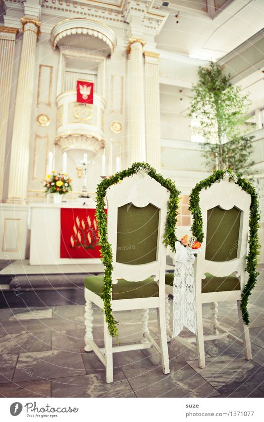Green White Interior design Religion and faith Feasts & Celebrations Couple Together Decoration In pairs Beginning Church Hope Wedding Chair Belief Fear of the future