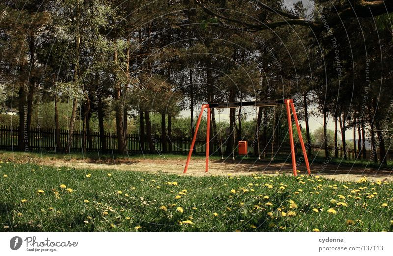 childless Playground Swing Playing Places Loud Harm Hurt Experience Memory Retro East Free space Meadow Spring Action Frustration Reaction Calm Childless Future