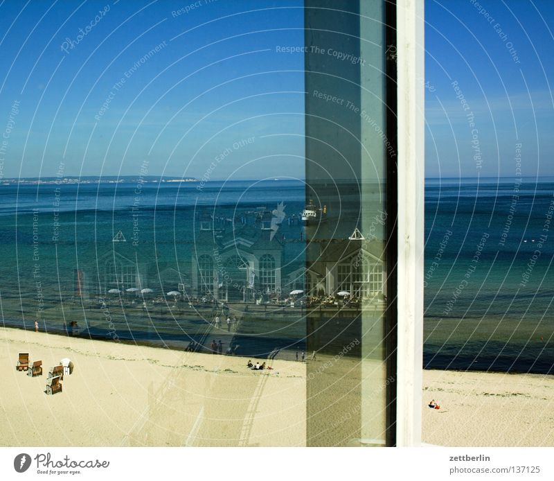 Water Sky Ocean Blue Summer Beach Vacation & Travel Window Sand Watercraft Coast Glass Tourism Romance Baltic Sea Window pane