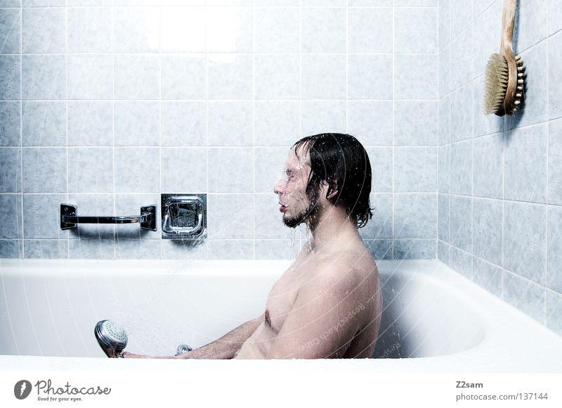 CATATERMORGS Shower head Bathroom Clean Wet Pure Wake up Bathtub Man Masculine Facial hair Simple Fresh Style Human being hangover tomorrow Water spray head