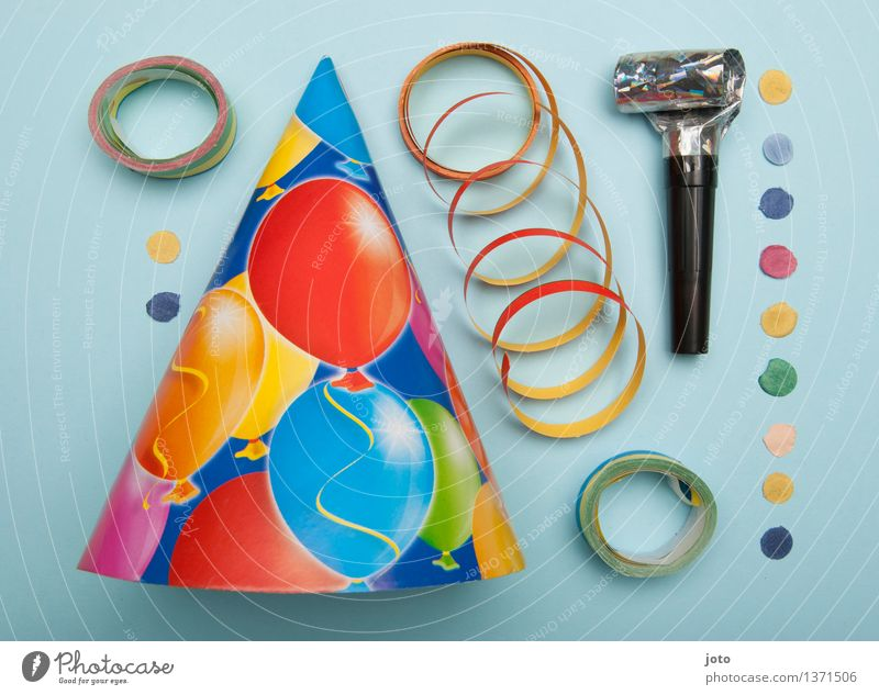 Party utensils - Super Stilllife Event Feasts & Celebrations Carnival New Year's Eve Birthday Trashy Multicoloured Ease Arrangement Whistle Confetti