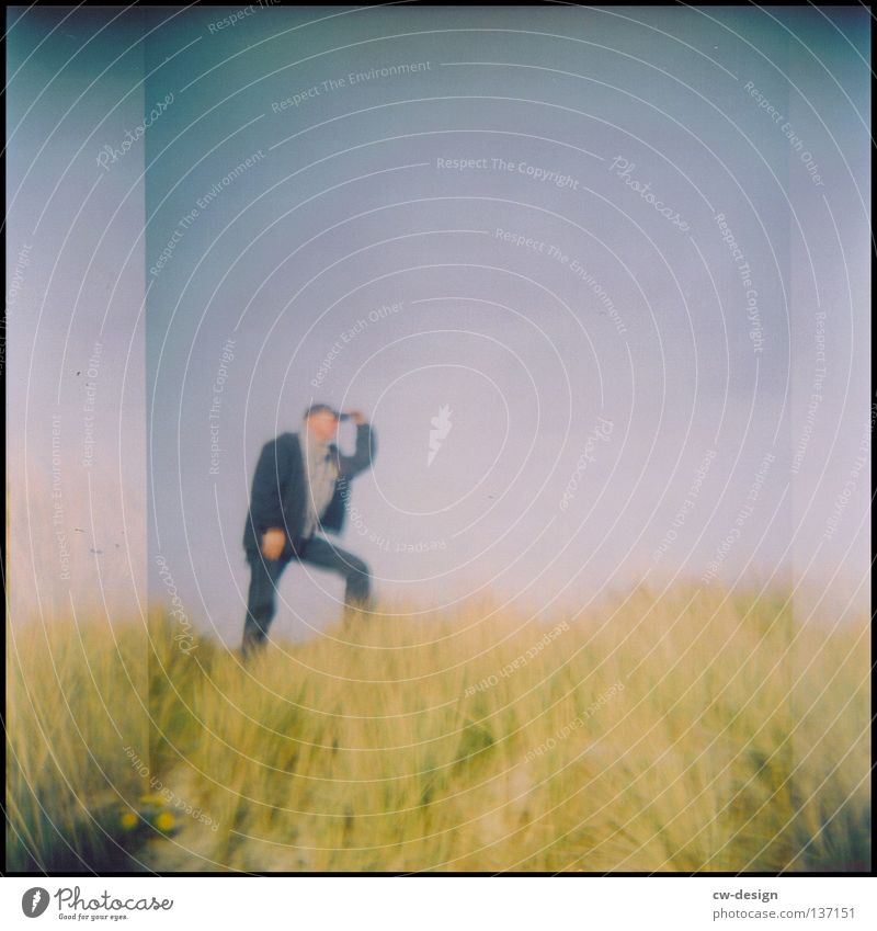 hOlGa | to take a look around II 1 Person Holga Blur Copy Space top Bright background Individual Only one man Dune Marram grass To go for a walk