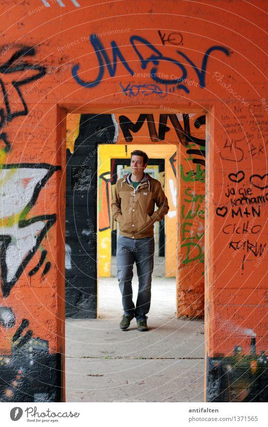 Does not run properly round Design Trip Masculine Man Adults Partner Life Body Legs Feet 1 Human being 30 - 45 years Graffiti Spray Duisburg Wall (barrier)