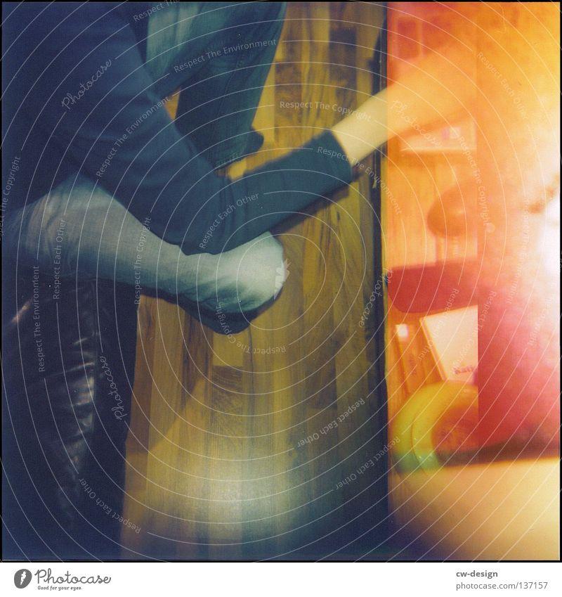 hOlGa | the drab monotony of everyday life Holga Multicoloured Vantage point Parquet floor Laminate Sofa Ashtray Lighter Paper Hand Yellow Black Edge Shadow