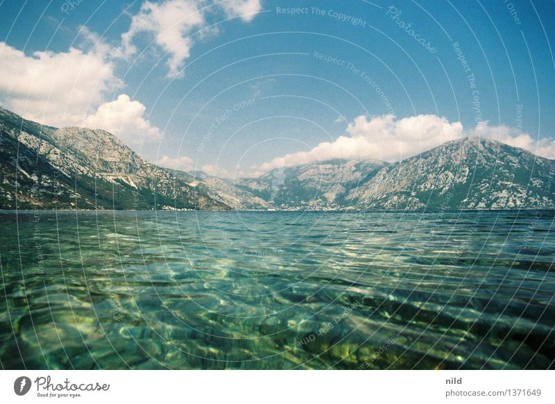 Montenegro - Bay of Kotor Vacation & Travel Tourism Summer Summer vacation Ocean Environment Nature Landscape Sky Clouds Beautiful weather Hill Peak Waves Coast
