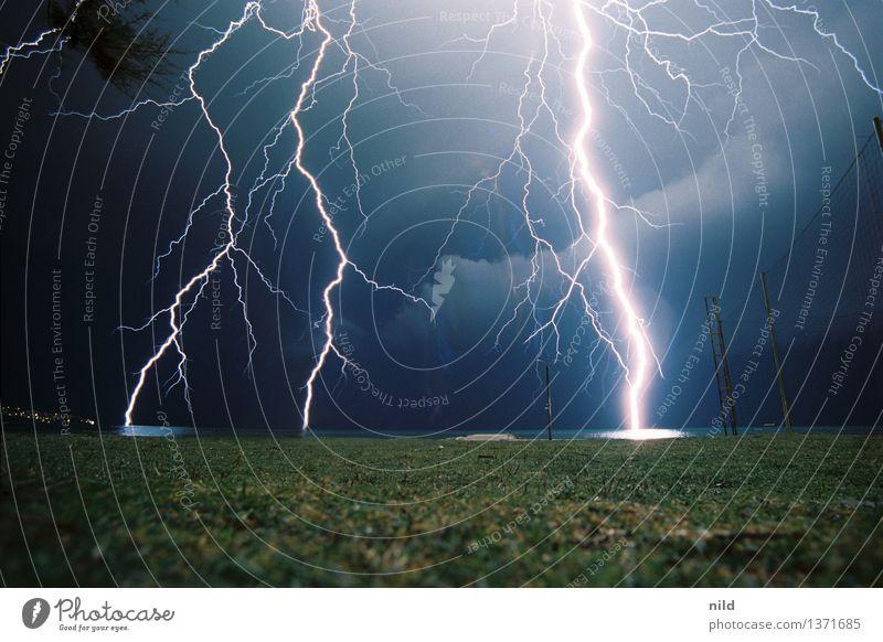 BOOOOOM Environment Nature Sky Summer Weather Bad weather Storm Gale Thunder and lightning Coast Aggression Threat Sharp-edged Fantastic Bright Near Blue