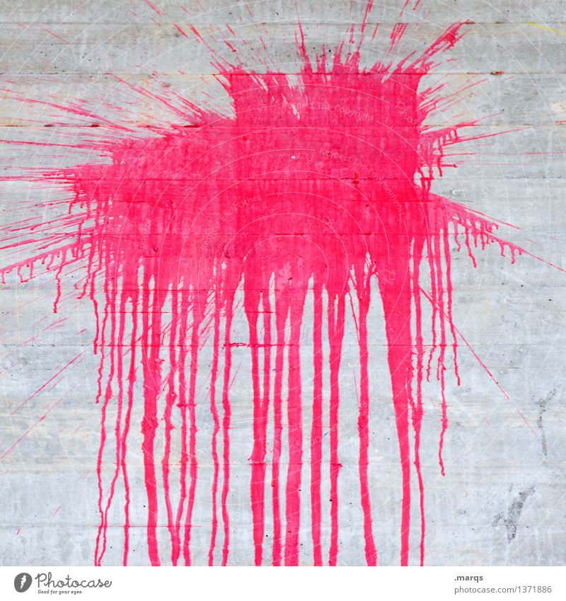 splish Style Design Wall (barrier) Wall (building) Concrete Trashy Blue Pink Colour Dye Inject Patch Daub Colour photo Close-up Pattern Deserted