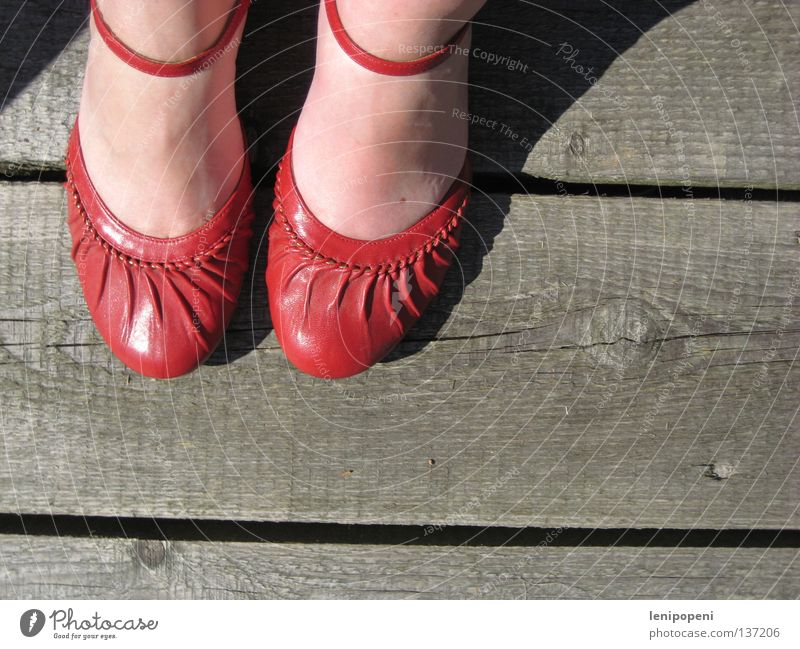 ...ain't for walking Footwear Red Wood Footbridge Physics Summer Sandal Chic Dirty Woman Side by side Leather Shoe sole Going Stand Break Heavy Hot