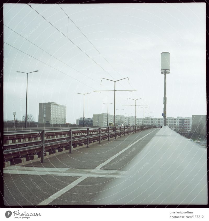 Street Lighting Bridge Cable Retro Film industry Lantern Square Dresden Analog GDR Saxony Transmission lines Prefab construction Photos of everyday life East