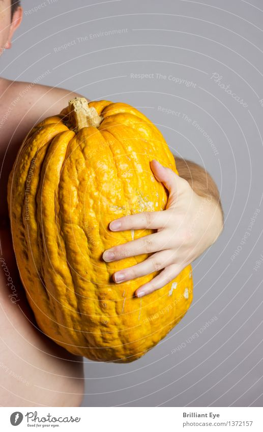 Reap what you sow Food Pumpkin Nutrition Lifestyle Thanksgiving Hallowe'en Human being Masculine Man Adults Body Hand 1 18 - 30 years Youth (Young adults) Large