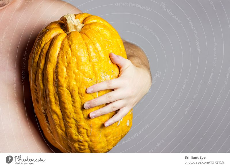 Proud catch Vegetable Pumpkin Lifestyle Thanksgiving Hallowe'en Human being Masculine Hand 1 Gigantic Large Bright Yellow Contentment Nature Tradition