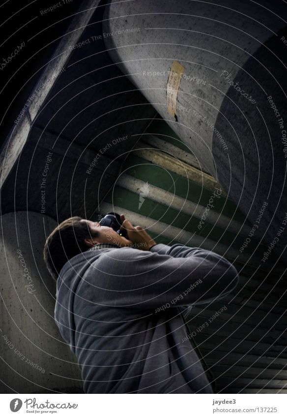 Human being Youth (Young adults) Dark Gray Crazy Bridge Diagonal Photographer Column Take a photo