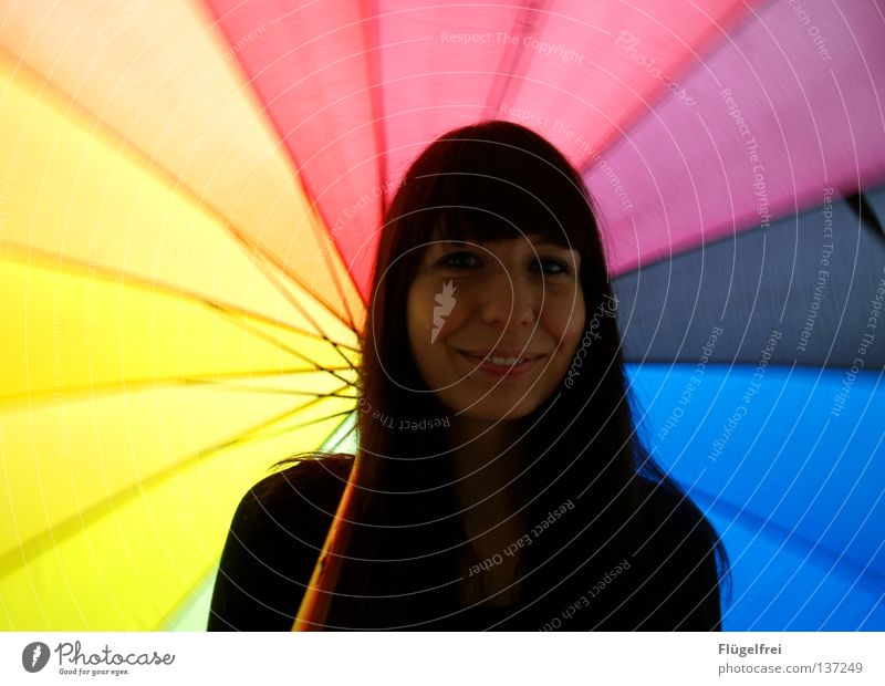 Woman Colour Joy Adults Emotions Laughter Movement Lighting Moody Weather To hold on Joie de vivre (Vitality) Umbrella Rotate Dynamics Grinning