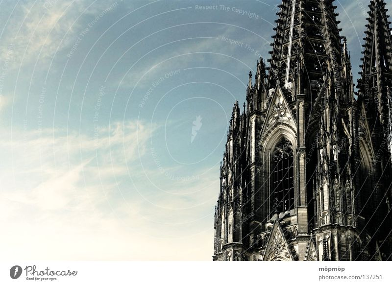 Cologne Cathedral Summer Clouds Progress Window Meter Rome Catholicism Sky North Rhine-Westphalia Christianity Deserted House of worship Dome Religion and faith
