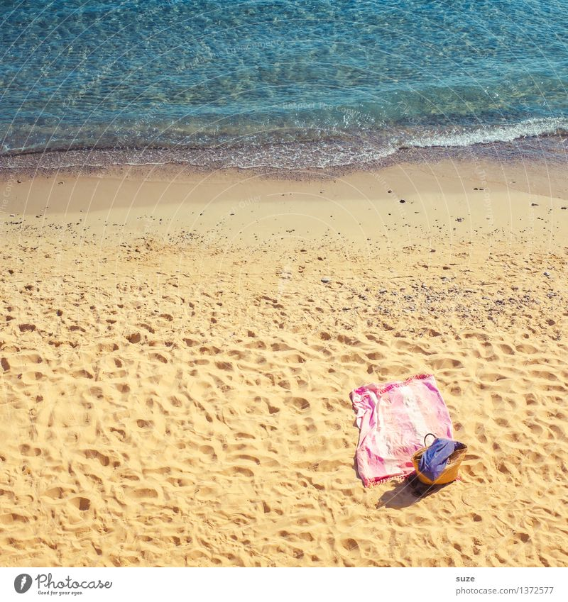 Vacation & Travel Blue Summer Relaxation Ocean Beach Travel photography Yellow Warmth Coast Sand Pink Leisure and hobbies Europe Beautiful weather Picturesque