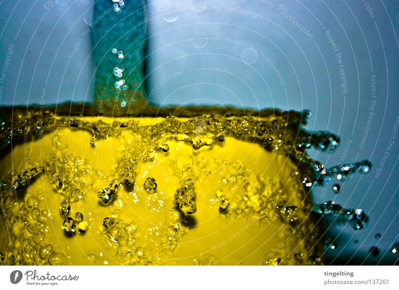 water features Inject Wet Damp Yellow Lemon Fresh Abstract Collision Flow Navigation Water Drops of water Blue Movement