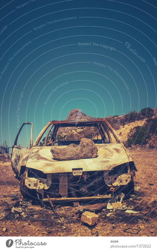 desert rally Summer Environment Nature Sky Warmth Means of transport Vehicle Car Vintage car Rust Old Broken Retro Stagnating Environmental pollution Past Time