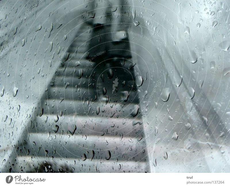 Rainy Days Collage Underground Scarf Coat Black & white photo Stairs Window pane Wait Drops of water