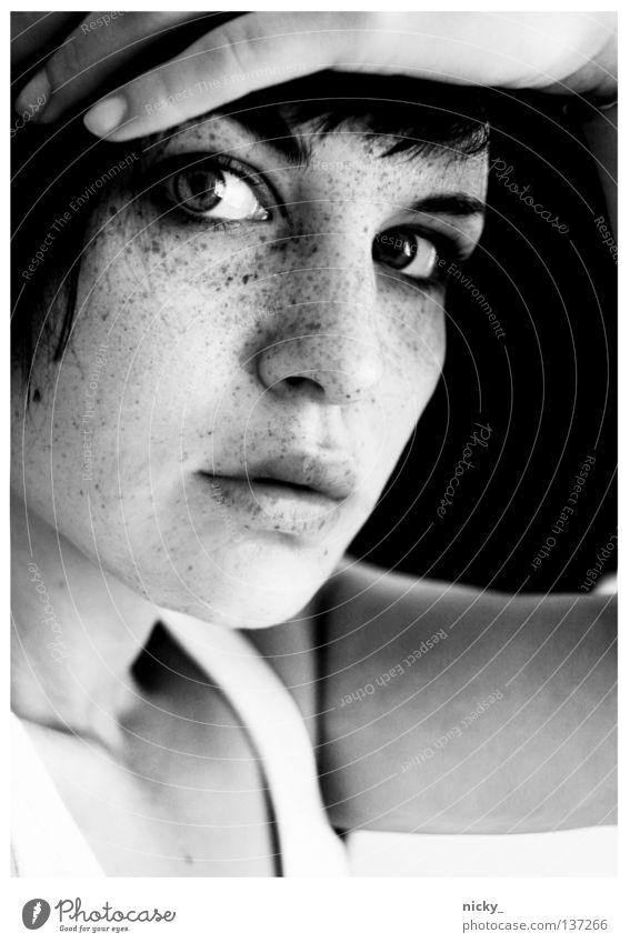 Woman Hand White Face Black Eyes Mouth Arm Nose Fingers Portrait photograph Freckles