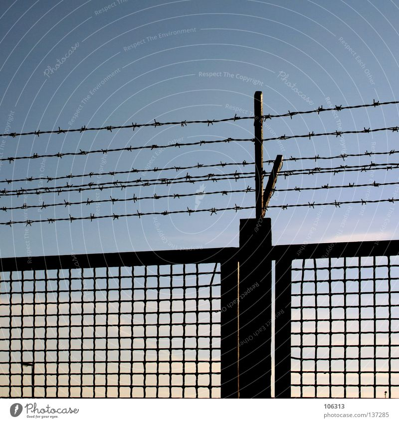 Sky Blue Clouds Wall (barrier) Metal Fear Germany Closed Perspective Clarity Peace Protection Derelict Pain Steel Border