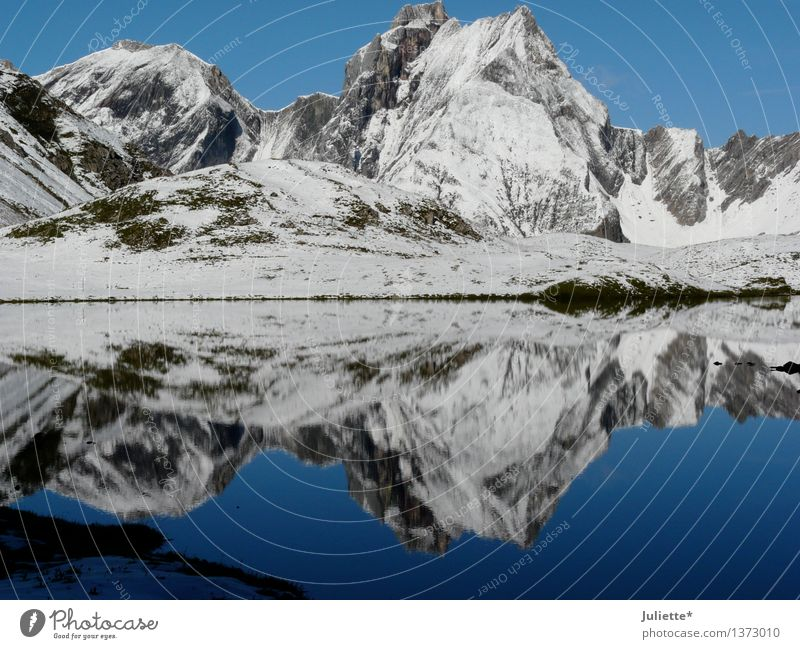 mirror image Environment Nature Landscape Water Sky Cloudless sky Summer Autumn Climate Weather Beautiful weather Ice Frost Snow Hill Rock Alps Mountain Peak
