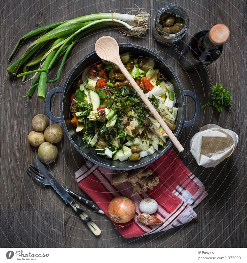 fresh off the press Food Soup Stew Herbs and spices Cooking oil Nutrition Lunch Organic produce Vegetarian diet Diet Italian Food Crockery Pot Cutlery To enjoy