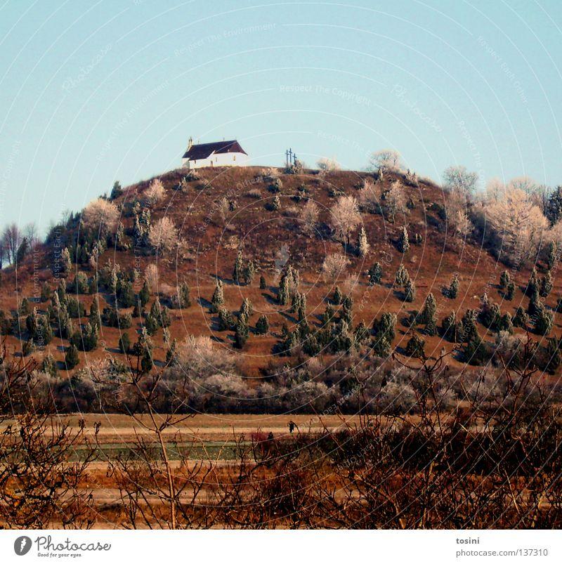 chapel Religion and faith Church Chapel Crucifix Christian cross Landscape Sky Tree Mountain Hill Bushes Field elevation