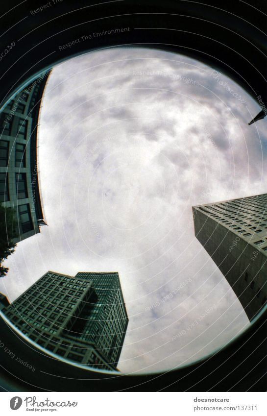 scraping the sky. (die bevölkerung des mondes.) Sky Clouds High-rise Building Architecture Modern Leipzig Lomography Fisheye Upward Skyward Cloud cover