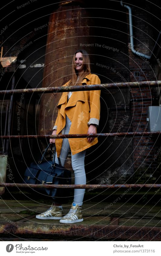 chris_by_photoart Joy Human being Feminine Young woman Youth (Young adults) Woman Adults 1 13 - 18 years Duisburg Industrial plant Jeans Coat Accessory Piercing