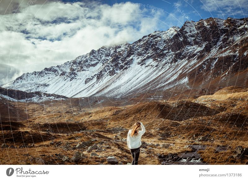 Human being Nature Youth (Young adults) Beautiful Young woman Landscape 18 - 30 years Adults Mountain Environment Autumn Exceptional Beautiful weather Peak Alps Snowcapped peak
