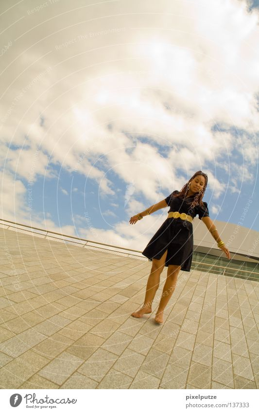 Woman Sky Clouds Freedom Contentment Dance Elegant Free Esthetic Dress Lady Thunder and lightning Easy Hover Ease Dancer