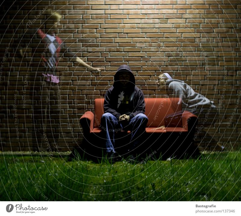 Human being Meadow Grass Wall (barrier) Fear Crazy Sofa Anger Creepy Brick Ghosts & Spectres  Panic Aggravation Hooded (clothing) Reaction Soul