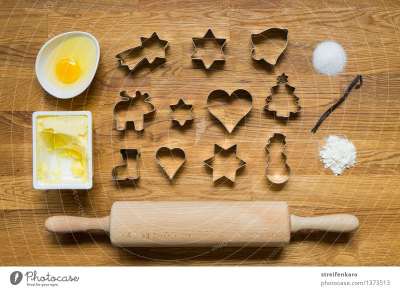 Christmas Bakery II Dough Baked goods Candy Flour Sugar Cinnamon Butter Egg Leisure and hobbies Rolling pin cut out cookies Figure Eating Delicious Sweet Joy