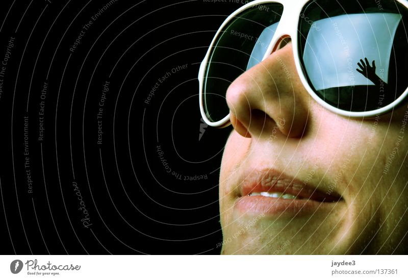 Picture in picture Eyeglasses Porno glasses Hand Softbox Light Black Reflection Close-up Happiness Youth (Young adults) Face Joy Nose Laughter Happy