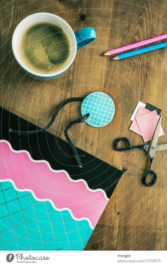 gift wrap with coffee cup, scissors and a nice bag Beverage Hot drink Coffee Cup Leisure and hobbies Handicraft Handcrafts Decoration Desk Workplace Office